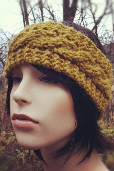 Chunky Cable Headband Earwarmer - Golden Olive - MADE TO ORDER