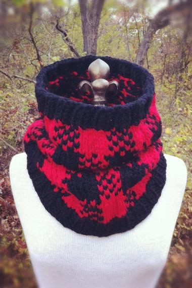 Buffalo Check Plaid Cowl - Red and Black - MADE TO ORDER