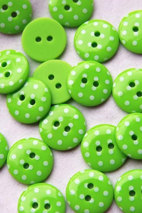 20 Lime Green Spotty Buttons. Small- 15mm