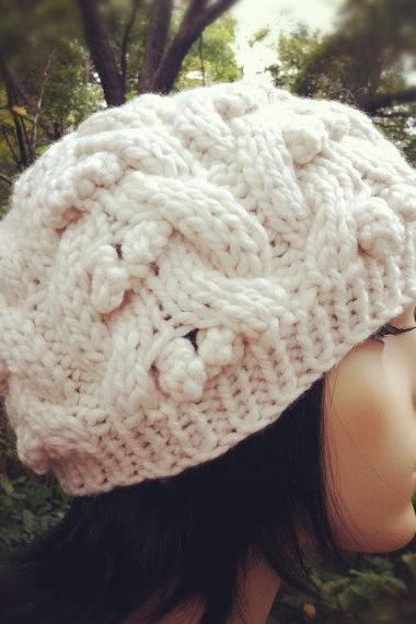 Chunky Cable Berries Hat - Ivory - MADE TO ORDER
