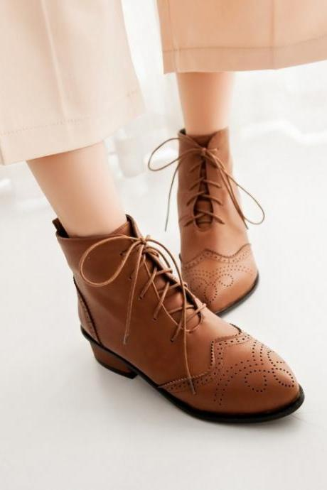 Pointed Lace-Up Oxford Ankle Boots