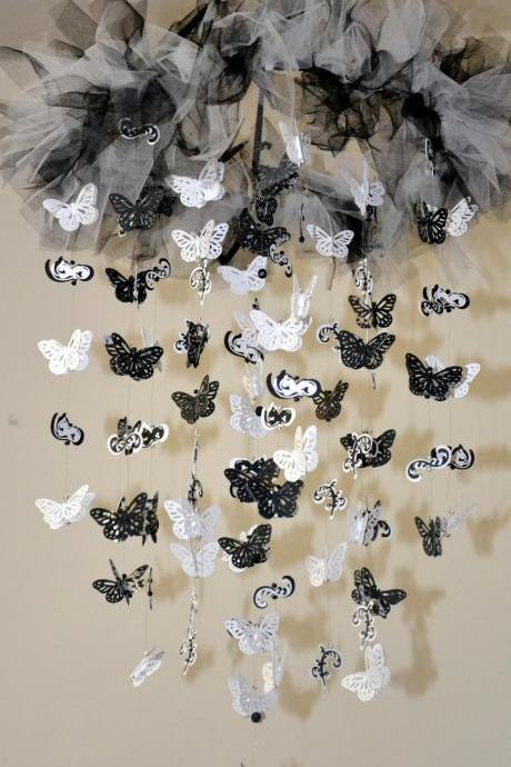 Classic Silhouettes Nursery Mobile (Black/White Butterfly Mobile)