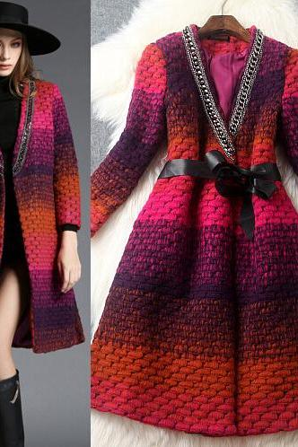 Fashion v-neck cloth coat 8205563