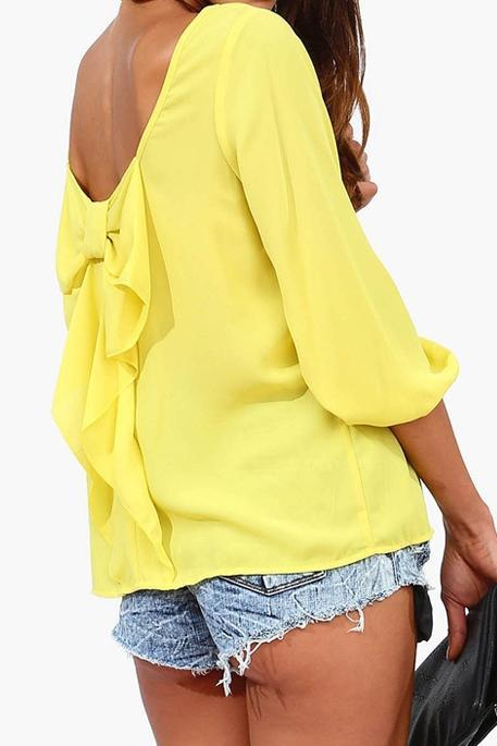 Casual Chiffon Blouses Top With Bow On Back In Yellow