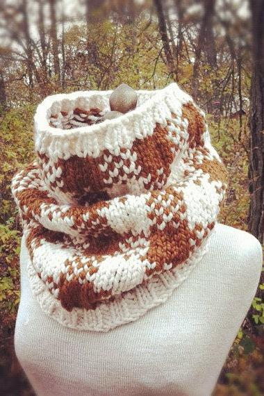 Buffalo Check Plaid Cowl - Ivory and Auburn - MADE TO ORDER