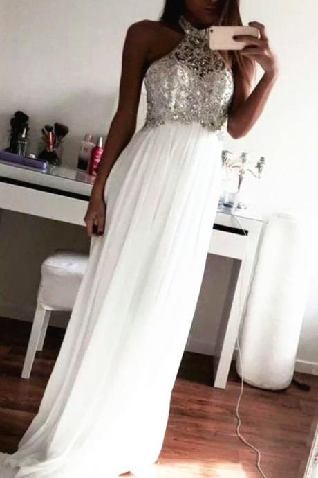 Beautiful White New Style Beading Prom Dresses, White Prom Dresses 2016, Formal Dresses, Simple Evening Gowns