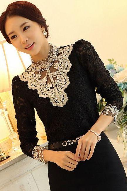 Black Sexy Black Beaded Lace Blouse