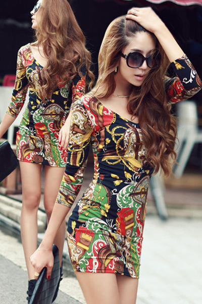 Black Sexy V Neck Printed Long Sleeve Mini Dress
