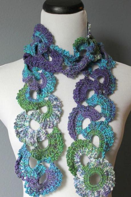 Womens Crochet Scarf Queen Annes Lace Crochet Scarf Ombre Multicolor Varigated Jewel Tones