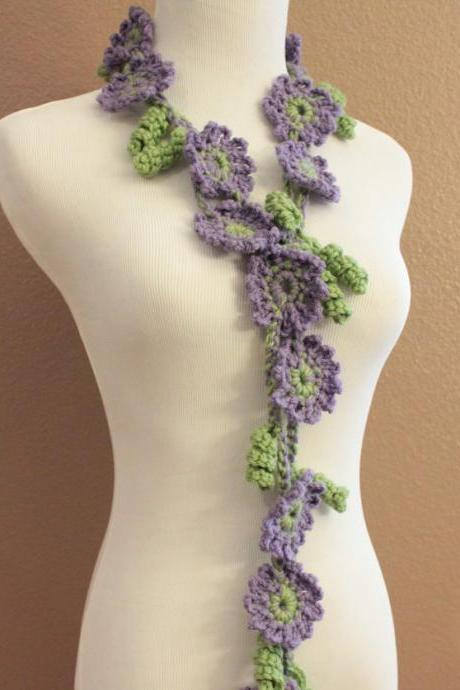 Crochet Flower Scarf Lariat Spring Fashion Lilac Purple and Sage Green