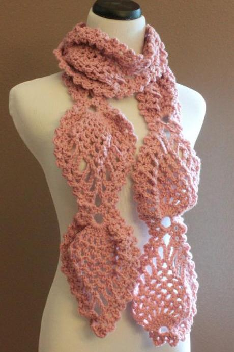 Pink Chunky Crochet Scarf Pineapple Lace Motif