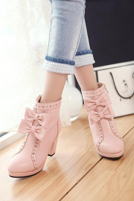 Women's Pure Color Thick Heel With Side Zippers Wool Bowknot Boots