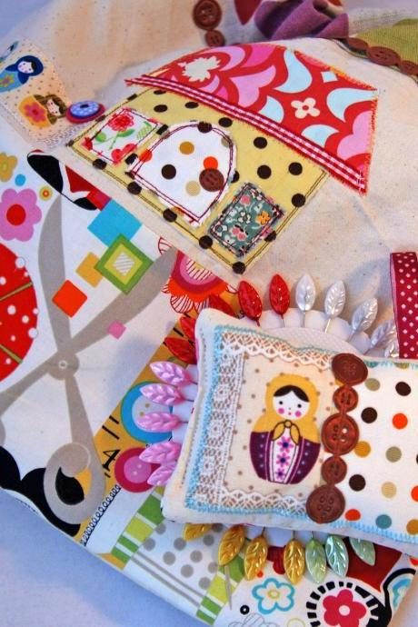 A Really Nice 'Made-To-Order' Handmade Sewing Bag- with a Pincushion and Pins