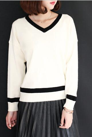 Fashion Women's V Neck Stripe Neckline Cuff and Hem Spliced Casual Loose Knitted Pullover One Size
