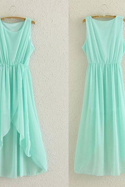 Cute Mint High Low Chiffon Women Dresses, Mint High Low Dresses, Party Dresses