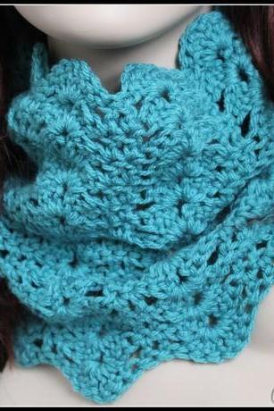 Womens Chunky Cowl Crochet Lace Infinity Scarf Turquoise