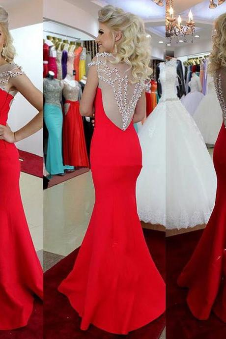Cap Sleeves See Through Back Red Mermaid Long Prom Dresses, Beadings Bodice Evening Prom Gown,Formal Women Dress 2016
