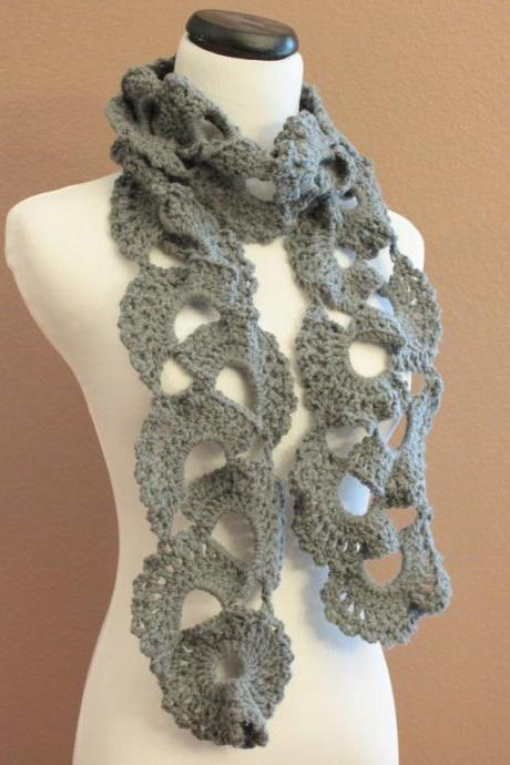Crochet Scarf Queen Annes Lace Smokey Grey