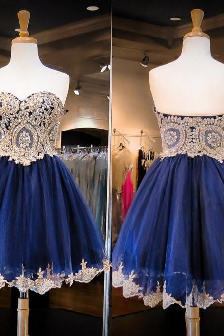 New Arrival Sweetheart Neck Gold Lace Dark Blue Homecoming Dress Navy Blue Short Prom Dress,A Line Mini Length Graduation Dresses