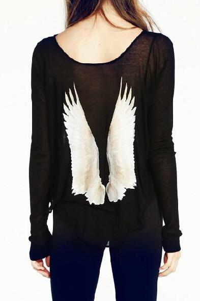 PRINTED RETRO WINGS LOOSE T-SHIRTS CS1104BE