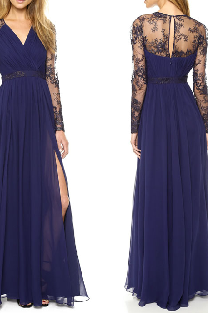 SEXY EMBROIDERED CHIFFON DRESS CS1104BG