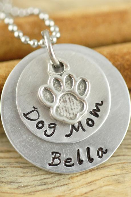 Personalized hand stamped necklace, Dog Mom necklace, Handstamped jewelry,Pet Lover Gift, Gift for Her