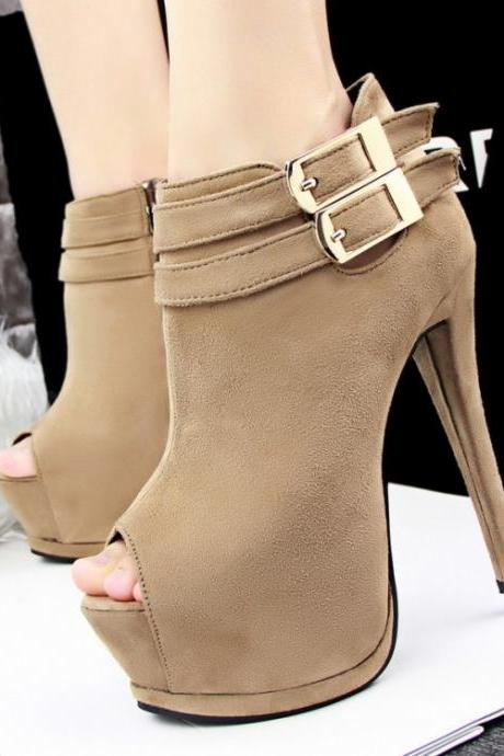Women's Pure Color High Heel Thin Heel With Side Zippers Buckle Short Knight Boots