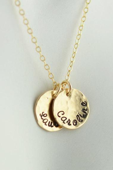 Mother Jewelry, Gold disc necklace initial, Personalized Hand Stamped necklace