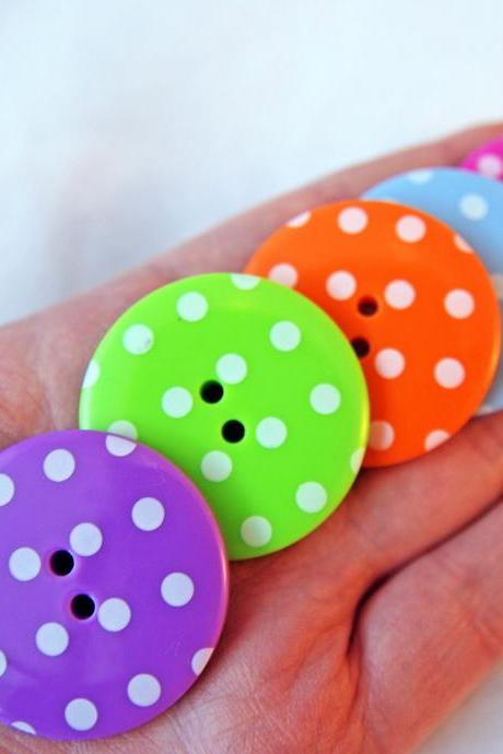 5 Big Spotty Buttons- In 5 Individual Colours approx 3.5cm