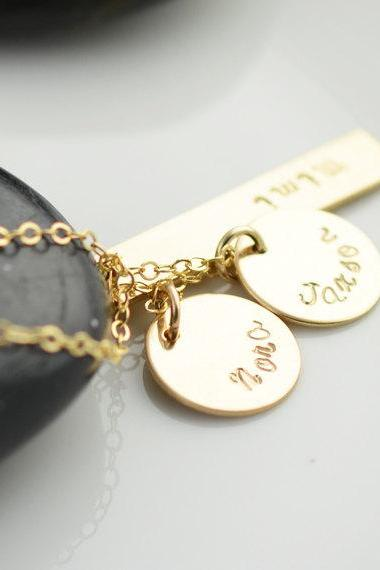 Personalized Hand Stamped necklace, gold name necklace, mommy jewelry, gift for her