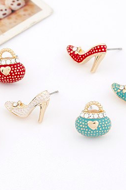 *Free Shipping* New Fashion Korean Very Cute Bags Heels Shoe Asymmetric Earrings For Women 18K Gold Plated wholesale High Quality XY-E546 2052980126