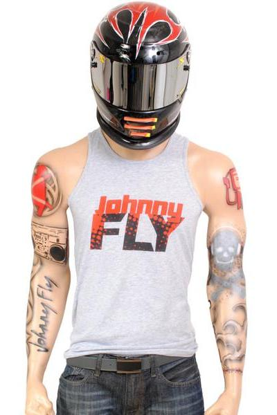 Retro Fly Tank -Lt. Grey/Red