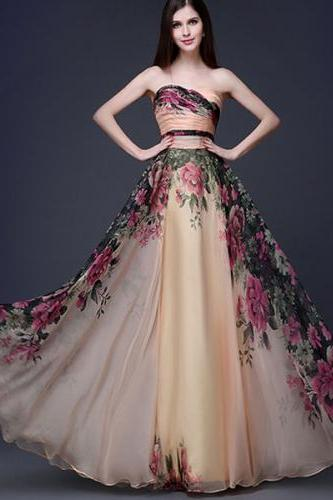 Custom Made Strapless Chiffon Floral A-Line Evening Dress, Prom Dress