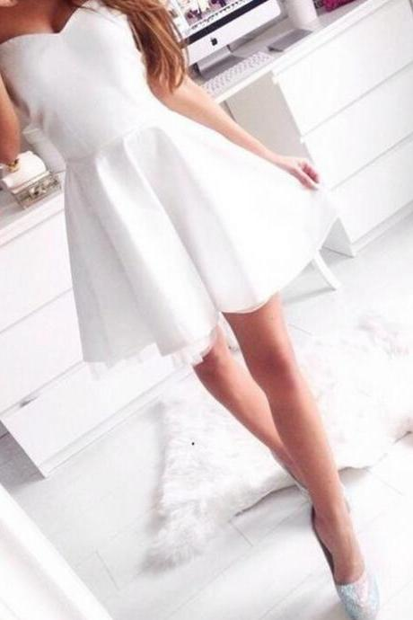 Cute White Short Strapless Homecoming Dress, Short Prom Dress, Lovely White Homecoming Dresses 2016, Graduation Dresses