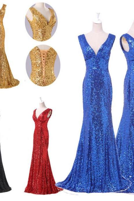 Royal Blue Sequin V Neck Mermaid Long Prom Dresses,Black Sequin Sheath Evening Prom Dress,Off The Shoulder Fashion Women Dress,Shiny Evening Gown