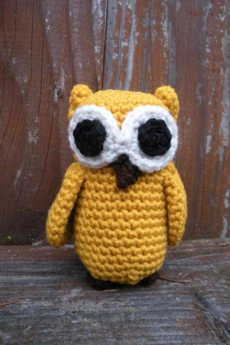 Small stuffed plush crochet owl in mustard yellow, ready to ship.