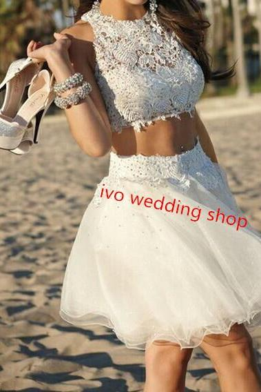 White Homecoming Dresses,Tulle Homecoming Dress,2 Pieces Prom Gown,Two Piece Cocktail Dresses,Lace Sweet 16 Gowns,2016 Evening Gowns