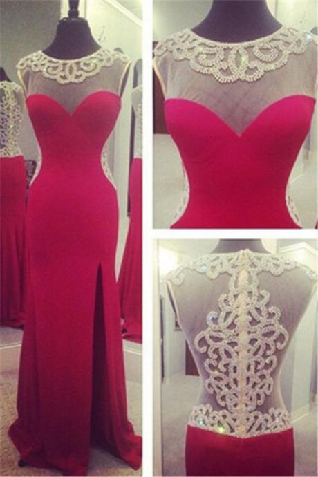 Open Back Front Split Mermaid Red Long Prom Dress,See Through Beaded Crystal Bodice Sexy Evening Dresses Prom Gown,Graduation Dress