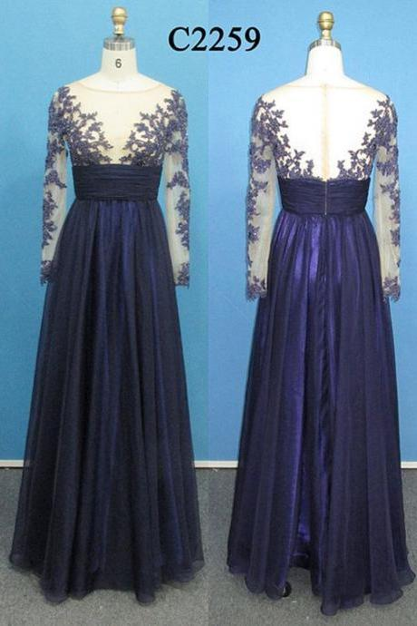 Long Sleeves Dark Blue Lace A Line Floor Length Prom Dresses,See Through Navy Blue Plus Size Evening Dress Prom Gown,High Neck Bridal Of Mother Dress