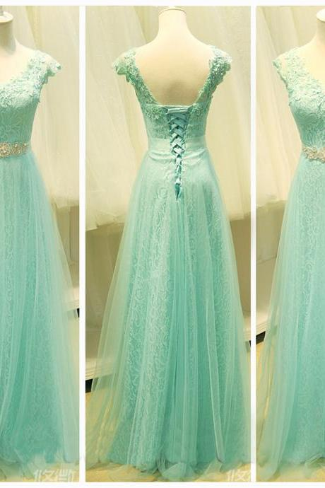 A Line Mint Lace Tulle Cap Sleeves Prom Dresses, Beaded Belt V Neck Evening Prom Gown Dress ,Custom Made Lace Back Up Girl Graduation Dress