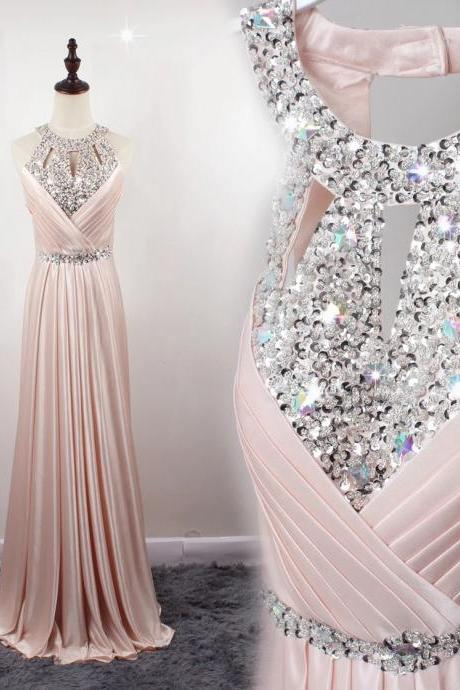Halter Cutout Beaded A-line Floor-Length Prom Dress, Evening Dress