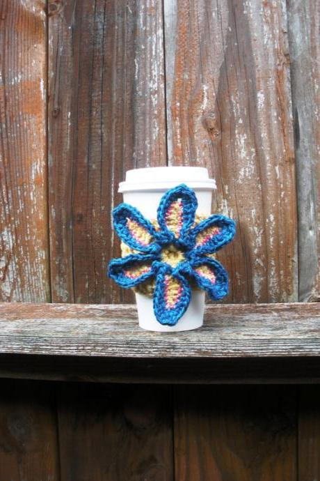 Crochet Coffe Cozy Drink Cozy recycled cotton blend with floral embellishment, ready to ship.