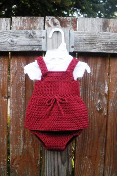 Girls Crochet Tank and Bloomer Set, Newborn, ready to ship.