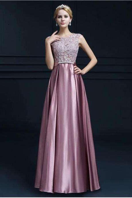 Pink Prom Dress, Cap Sleeve Prom Dress, Scoop Neck Formal Dress, Lace Prom Dresses, Long Evening Gowns, Chiffon Prom Dresses