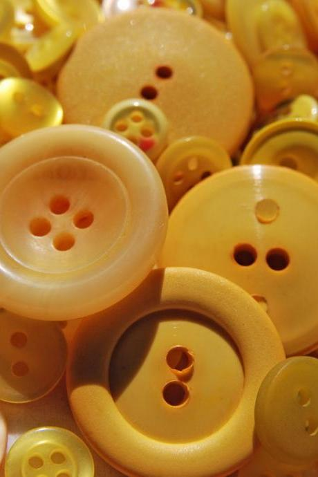 Just in time for Summer Bright Yellow Buttons- 50g mixed bag