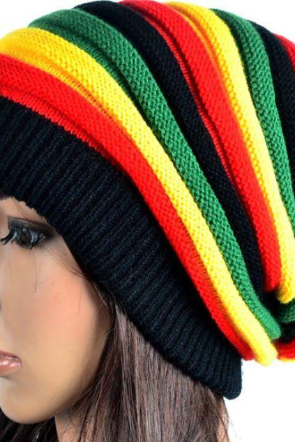 Rasta Slochy Hats for Women Knitted Hats Handmade Wool Knitted Slouchy Rasta Beanies