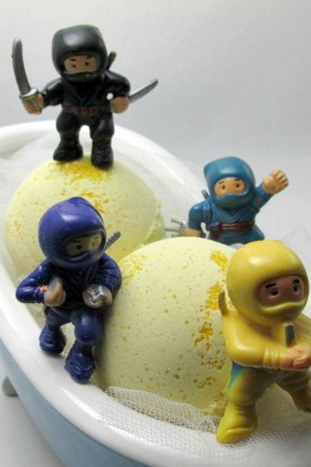 Bath Bomb - Ninja surprise toy- Organic soy milk -4oz bomb