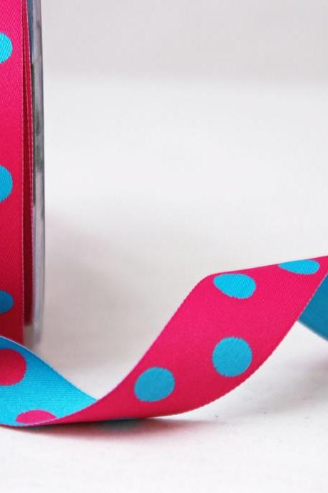 Pink and Blue satin Reversible Dots ribbon X 2mtrs
