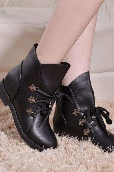 Women's Pure Color Square Heel Low Heel Crossed Lace Short Boots