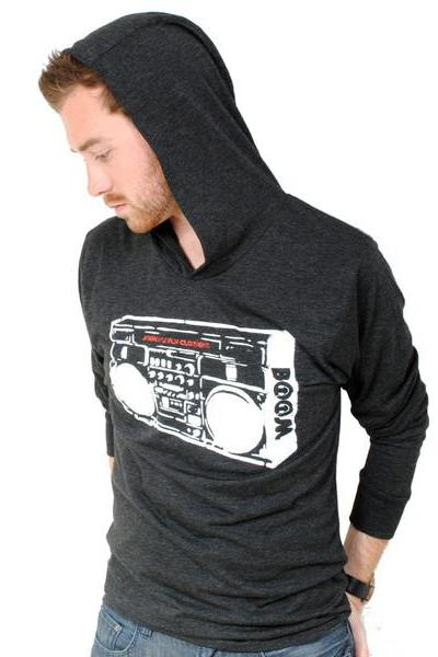 Boom Box Invert Hooded Long Sleeve Tee